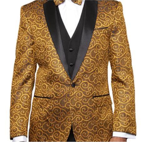 Gold 2Toned Alberto Nardoni Paisley Sequin Blazer Tuxedo Suit