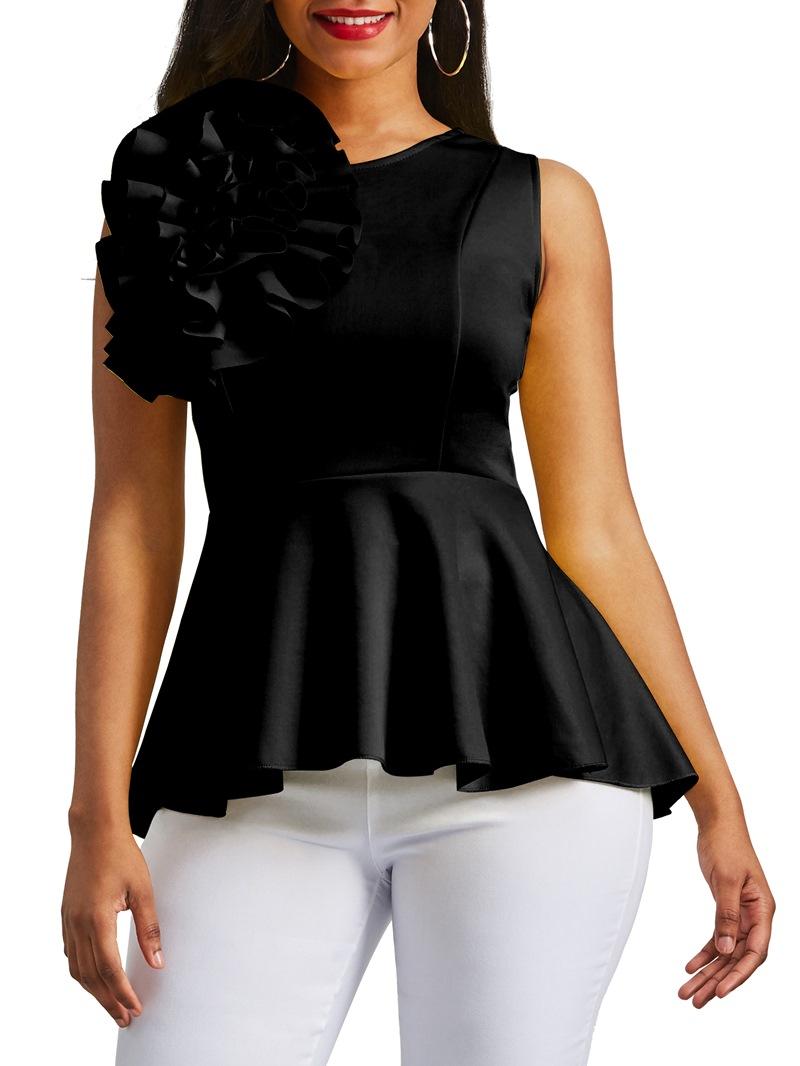 Ericdress Applique Peplum Zipper Up Sleeveless Women's Top