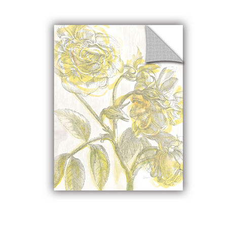 Brushstone Belle Fleur Yellow I Crop Removable Wall Decal, One Size , White