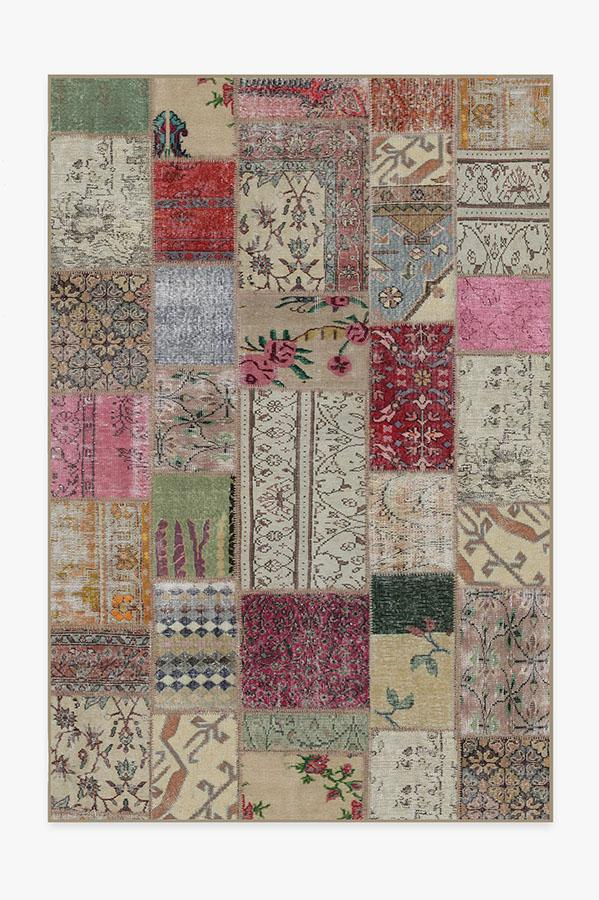 Washable Rug Cover & Pad | Patchwork Boho Rug | Stain-Resistant | Ruggable | 6x9