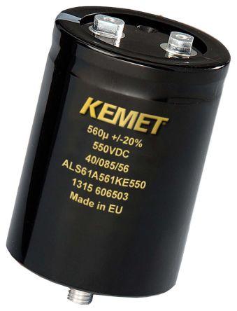 KEMET 560μF Electrolytic Capacitor 550V dc, Screw Mount - ALS61A561KE550