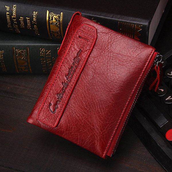 Women Genuine Leather Cowhide Zip Wallet Vintage Bifold with Double Zipper Pockets