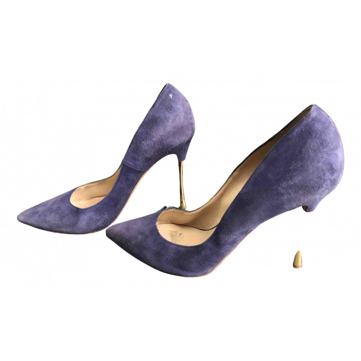 Nicholas Kirkwood N Navy Suede Heels for Women 38.5 IT