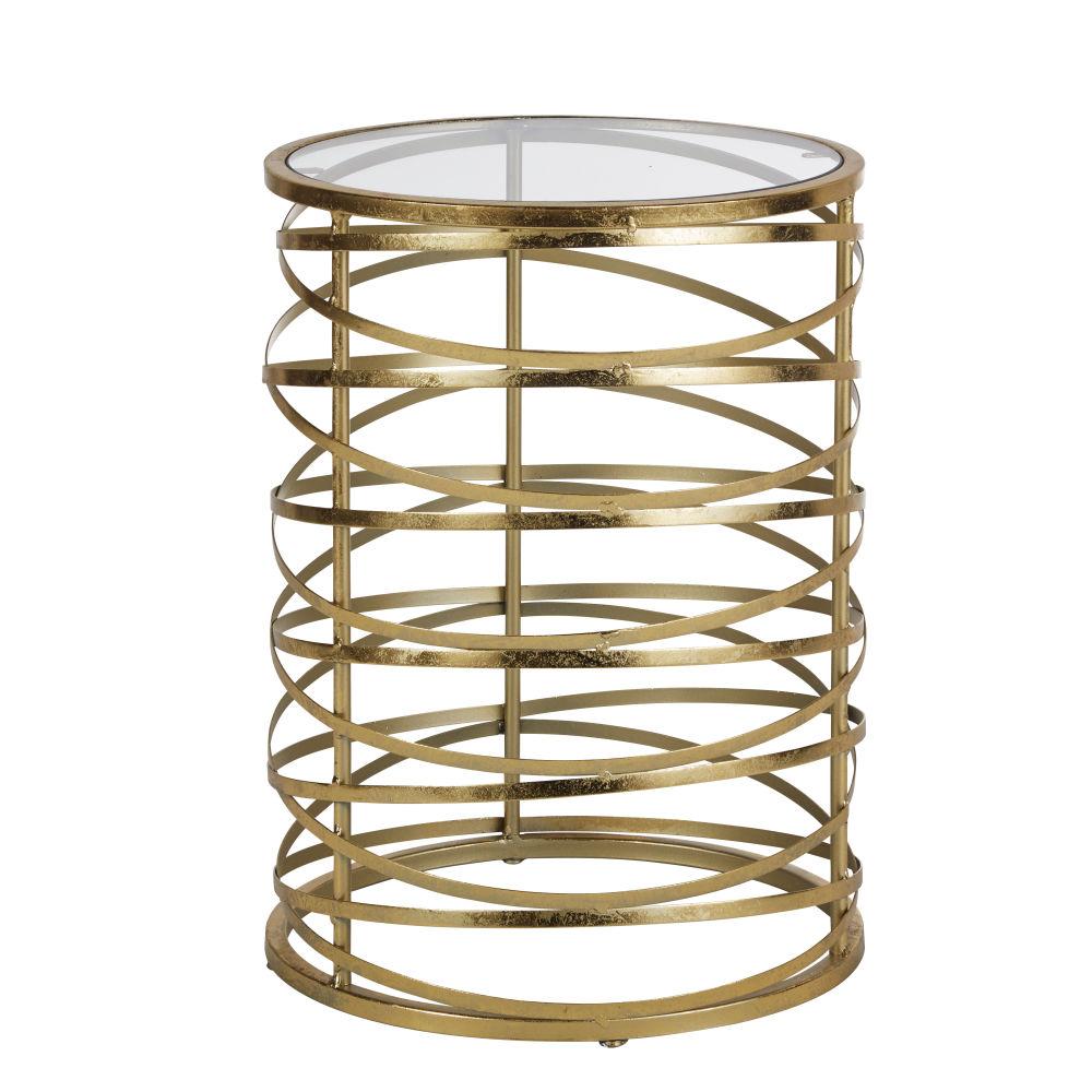 Beistelltisch Spirale aus goldfarbenem Metall und Glas