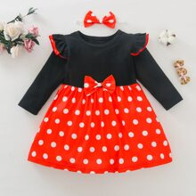 Baby Girl Bow Front Polka Dot Dress & Headband