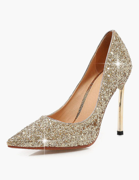 Milanoo Women Blond Glitter Stiletto Pointy Toe Heels Shoes