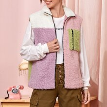 Cut And Sew Zip Up Teddy Vest