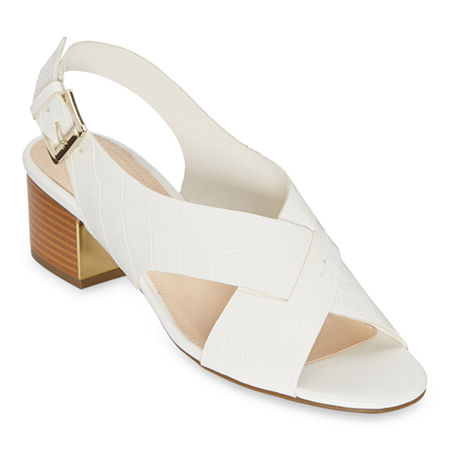 Liz Claiborne Womens Calista Heeled Sandals, 7 Medium, White