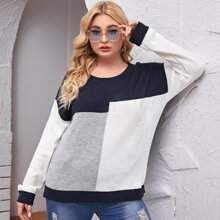 Plus Color-Block Drop Shoulder Sweater