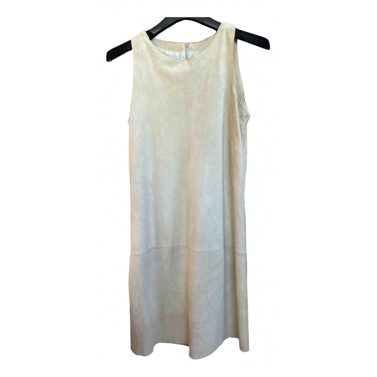 Genny \N Kleid in  Beige Veloursleder