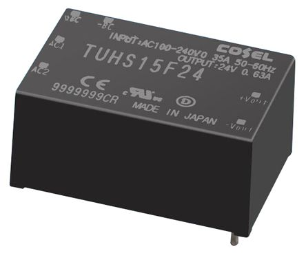 Cosel , 15W Embedded Switch Mode Power Supply (SMPS), 24V dc, Encapsulated