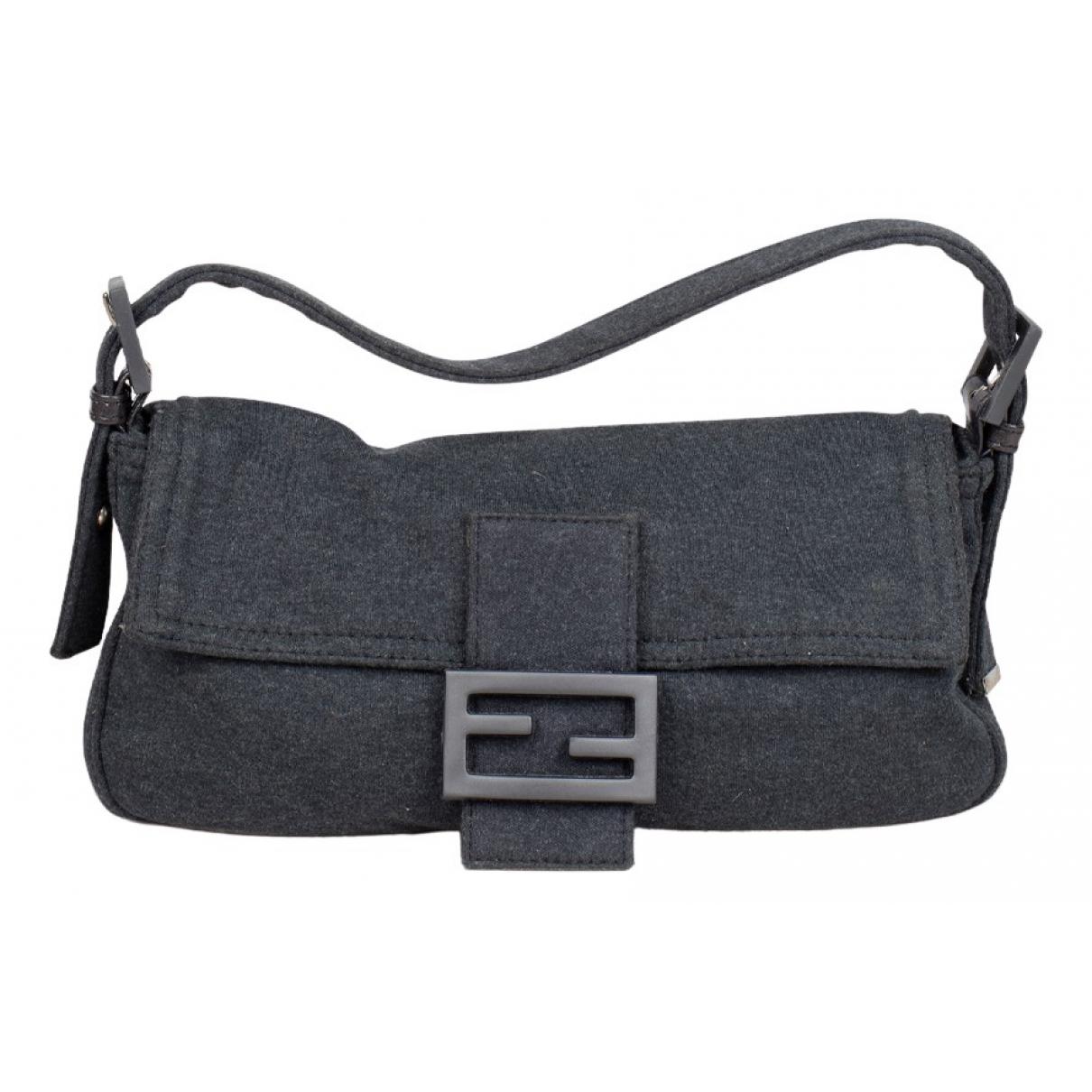 Fendi Baguette Grey Wool handbag for Women N