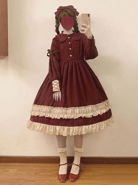 Milanoo Classic Lolita OP Dress Bow Ruffle Two Tone Cotton Lolita One Piece Dress