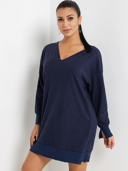Yoins Royal Blue V-neck Long Sleeves Patchwork Sweatshirt Dress