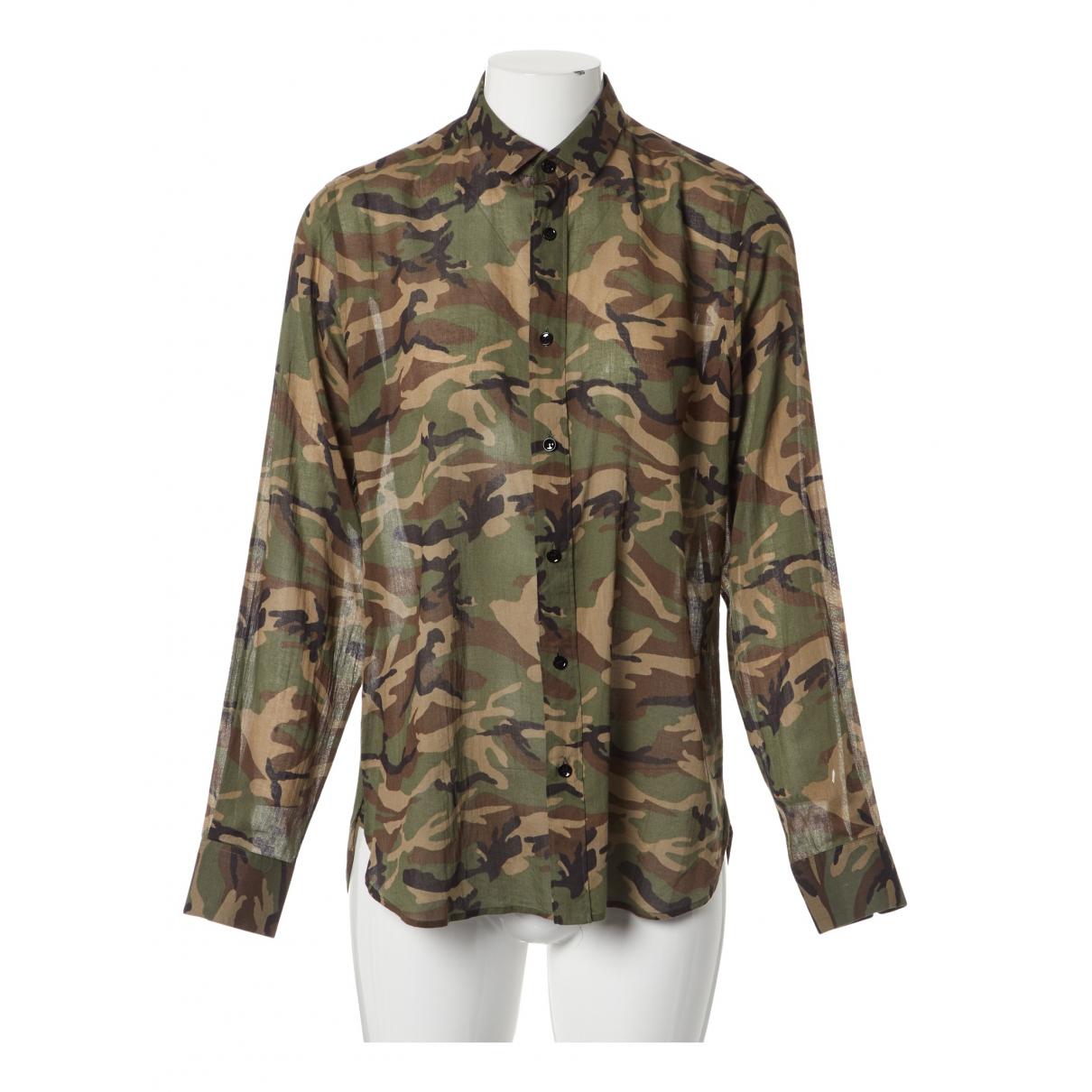 Saint Laurent - Chemises   pour homme en coton - kaki