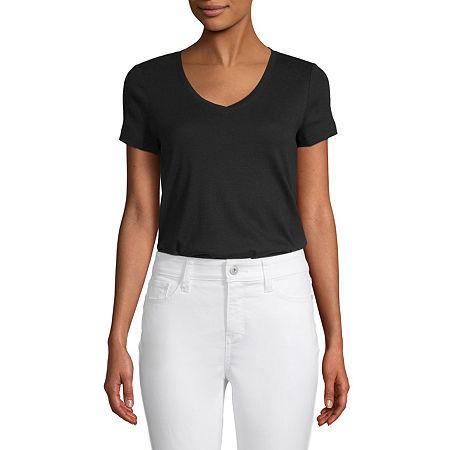 St. John's Bay-Womens V Neck Short Sleeve T-Shirt, Large , Black