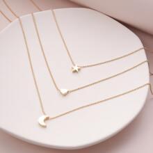 Mehrschichtige Halskette mit Mond & Stern Anhaenger