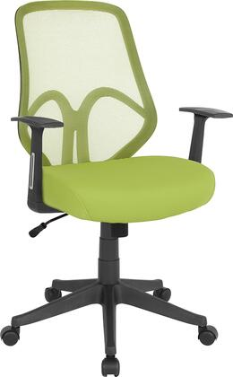 Salerno Collection GO-WY-193A-A-GN-GG Office Chair with Arms  Swivel Seat  Pneumatic Seat Height Adjustment  Dual Wheel Casters  Built-In Lumbar