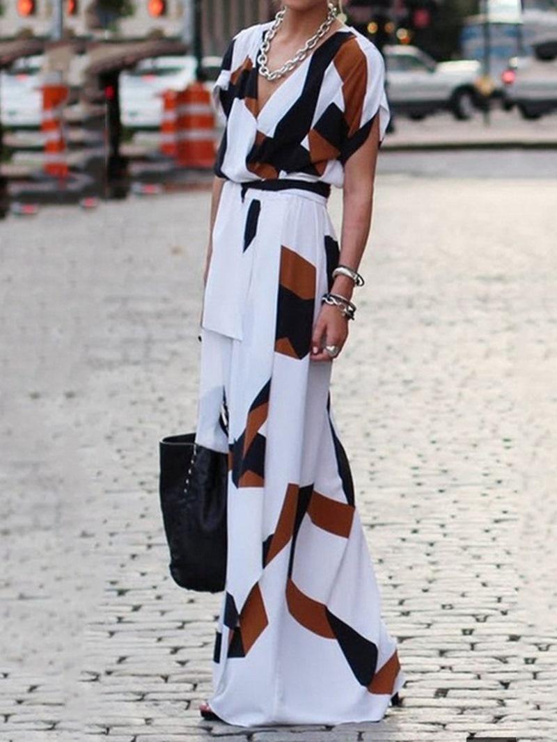 Ericdress Color Block Asymmetrical Split Short Sleeve V-Neck Mid Waist Dress
