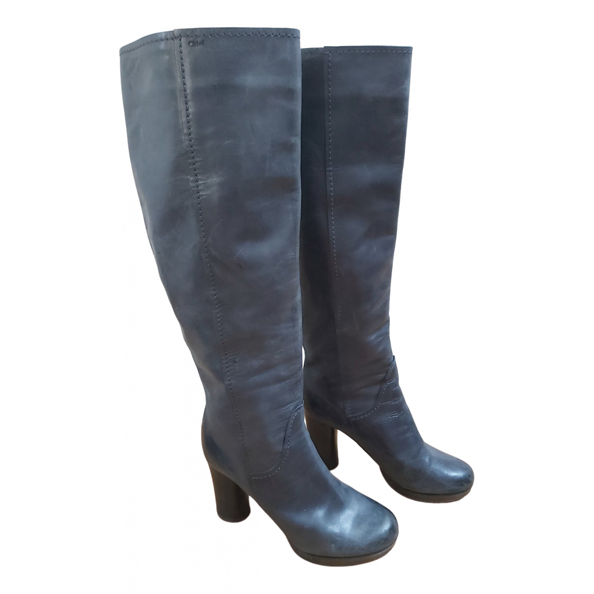 Chloé Béa Grey Leather Boots for Women 38 EU