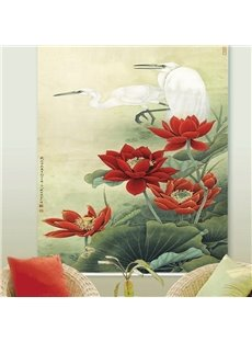 UV-proof and Blackout Decorative Custom Digital Printing Roller Shades with Flowers and Egrets Pattern