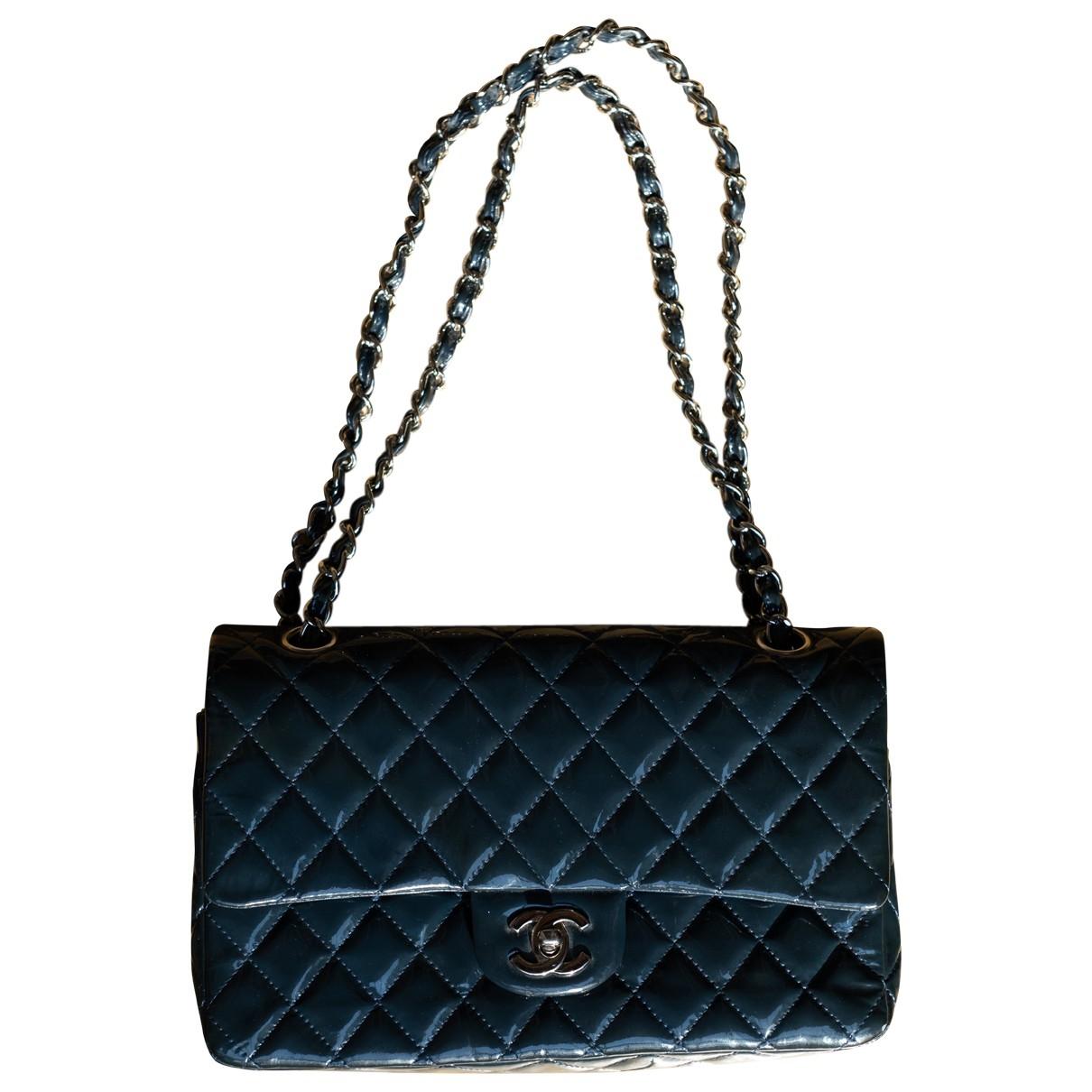 Chanel - Sac a main Timeless/Classique pour femme en cuir verni - bleu