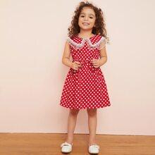 Kleinkind Maedchen A Linie Kleid mit Punkten Muster, Spitzenbesatz und Guertel