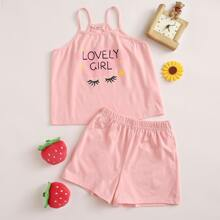 Girls Eyelash and Letter Graphic Cami Top and Shorts PJ Set