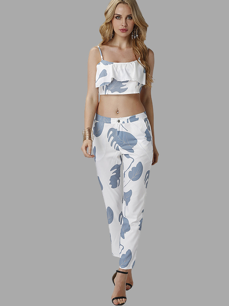 Yoins Sexy Random Abstract Print Co-ord with Flouncy Details