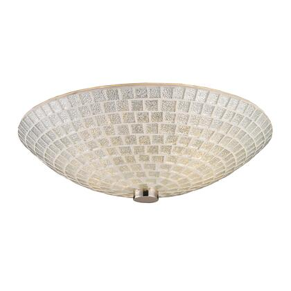10139/2SLV-LA Fusion 2-Light Semi-Flush in Satin Nickel with Silver Mosaic Glass with Adapter