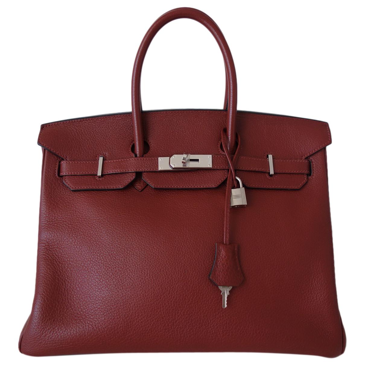 Hermes Birkin 35 Handtasche in  Bordeauxrot Leder