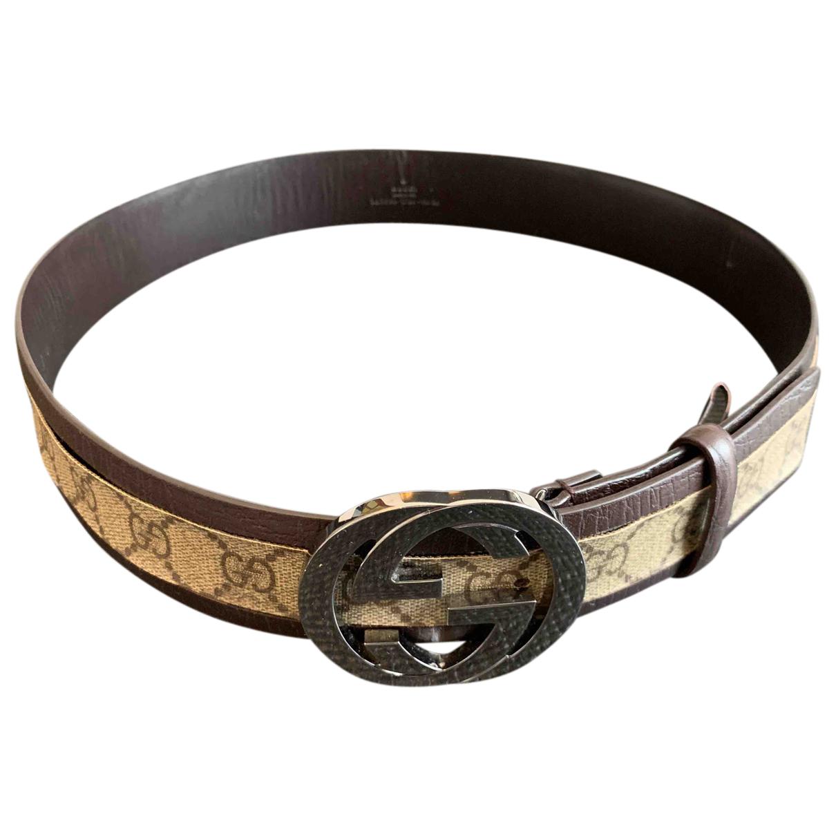 Gucci Interlocking Buckle Brown Cloth belt for Men 100 cm
