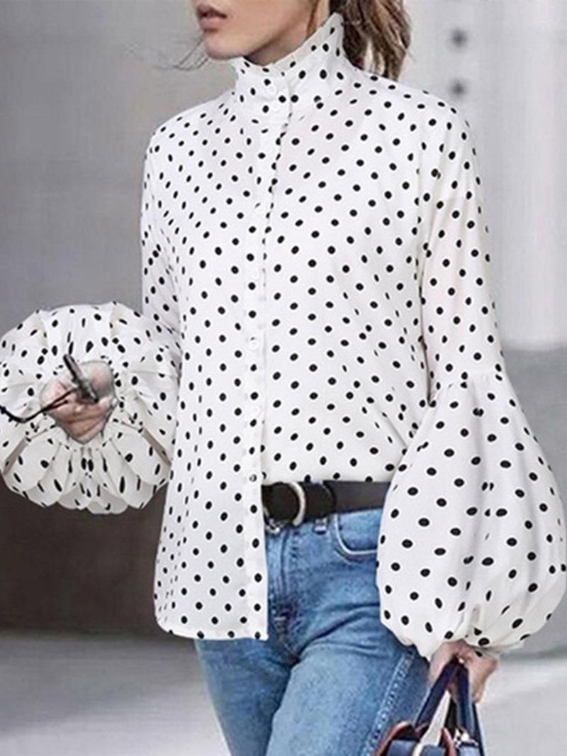 Ericdress Polka Dots Stand Collar Lantern Sleeve Mid-Length Long Sleeve Blouse