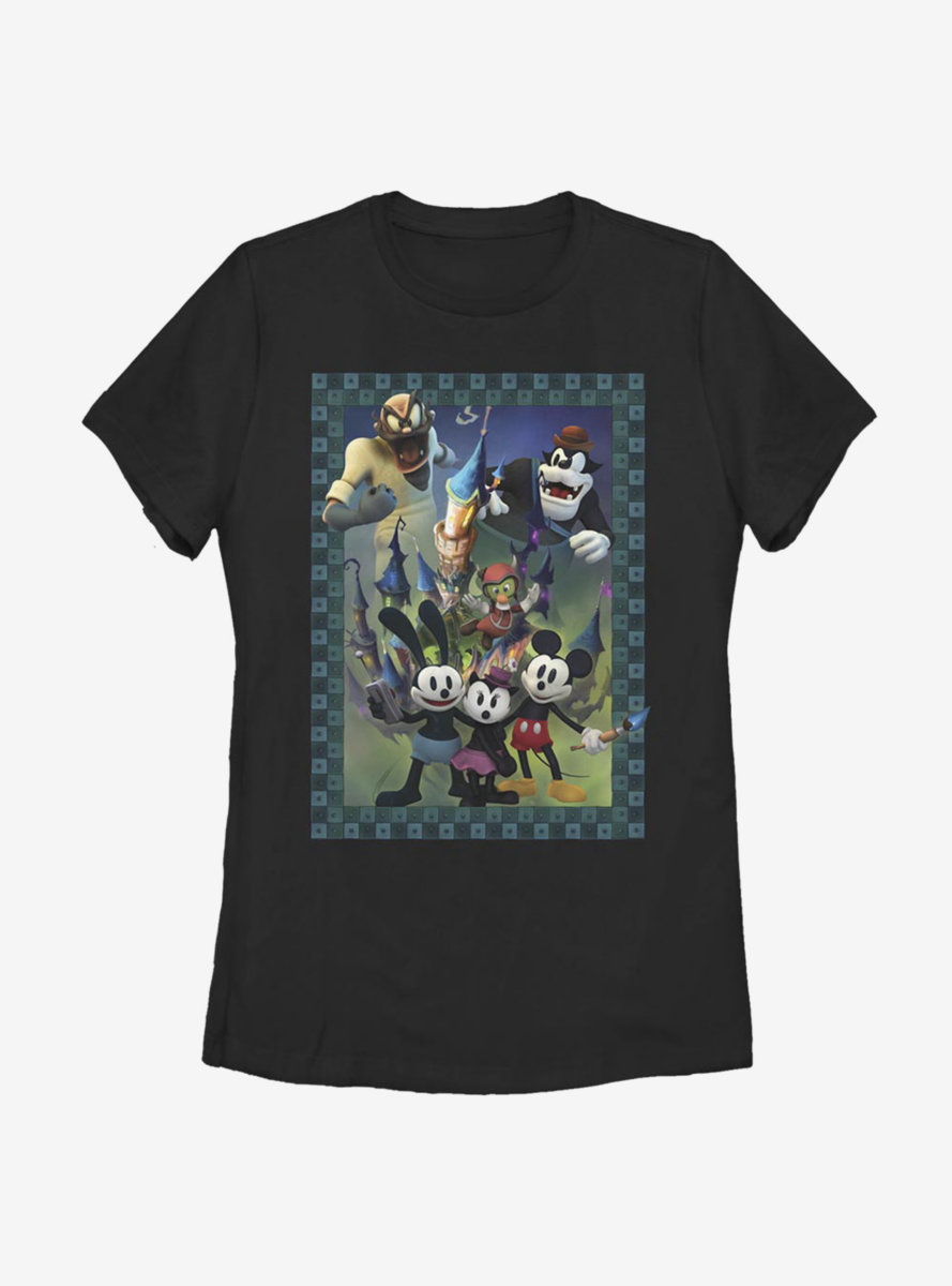 Disney Epic Mickey Character Poster Womens T-Shirt