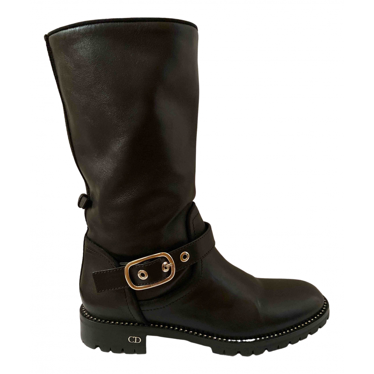 Dior N Black Leather Boots for Women 38 EU