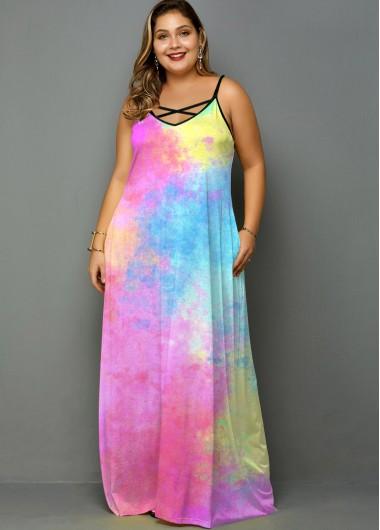 Plus Size Tie Dye Spaghetti Strap Pocket Dress - 2X