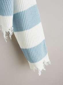 Distressed Trim Color Block Sweater