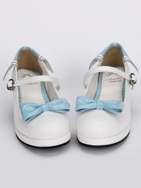 Milanoo White Lolita Chunky Heels Shoes Blue Bows Round Buckle Ankle Strap