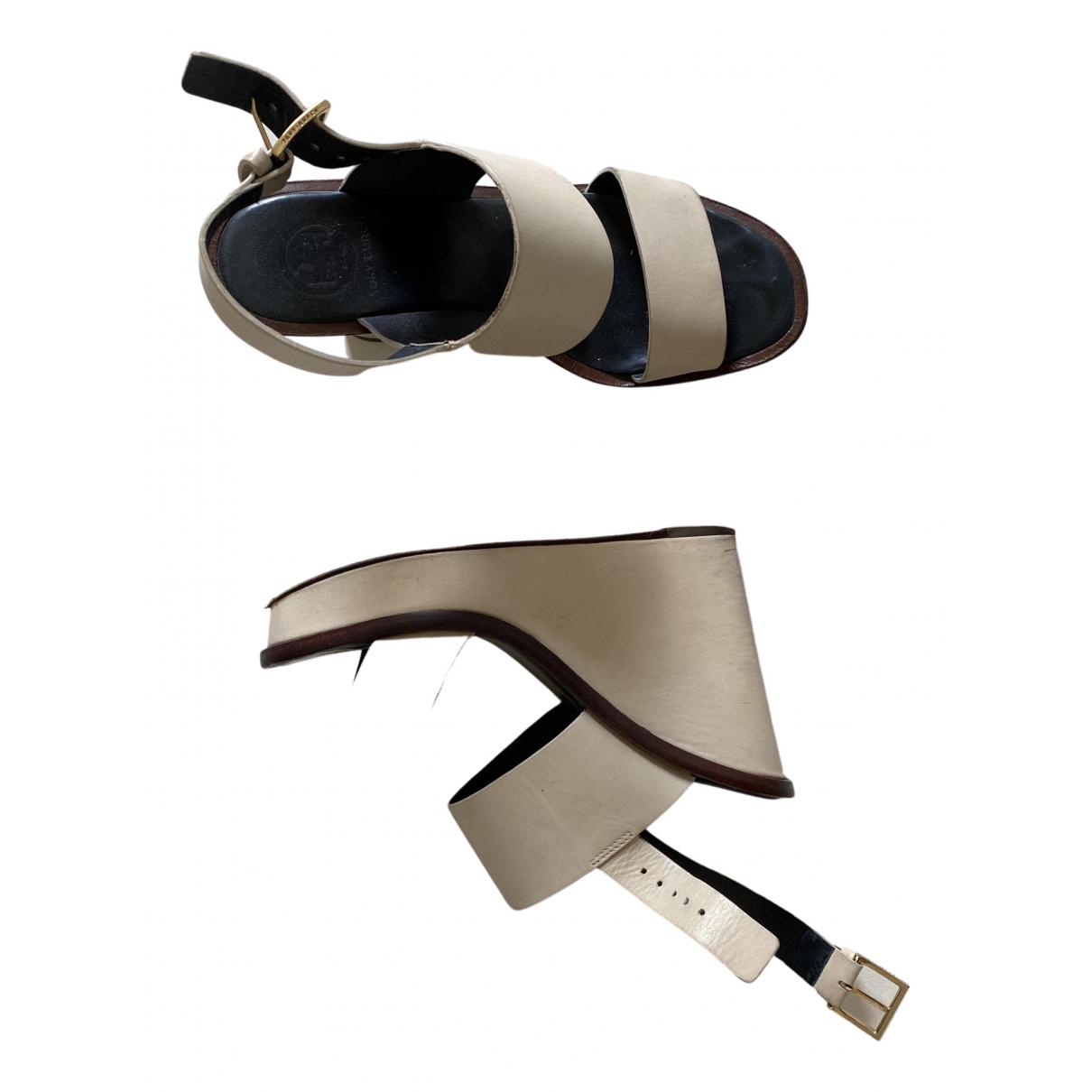 Tory Burch N Ecru Leather Sandals for Women 36 EU