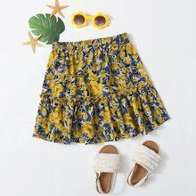 Girls Allover Floral Print Frill Trim Skirt