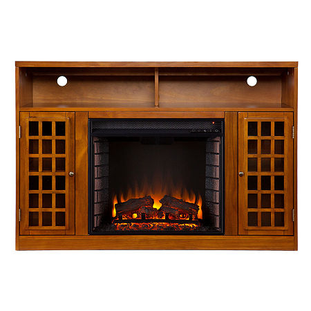 Media Electric Fireplace, One Size , Brown