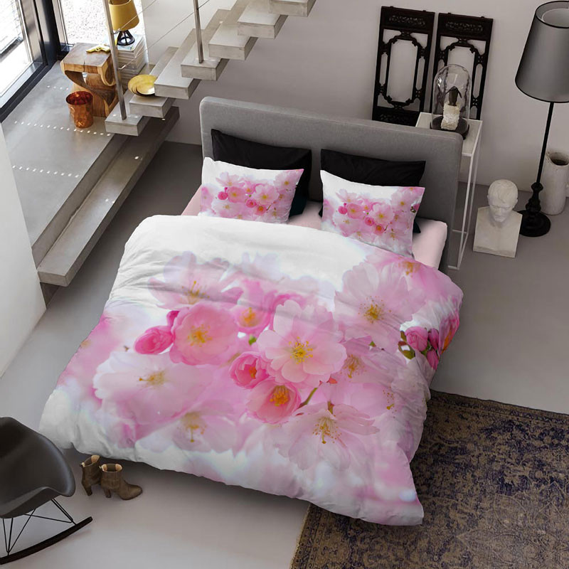 Pink Peach Flowers Wear-resistant Breathable High Quality 60s Cotton 4-Piece 3D Bedding Sets