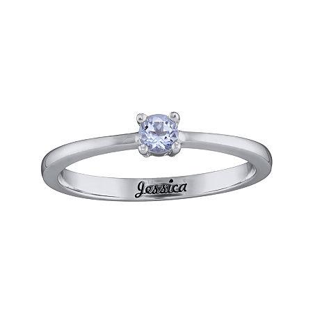 Personalized Girls Round Birthstone Ring, 6 , White