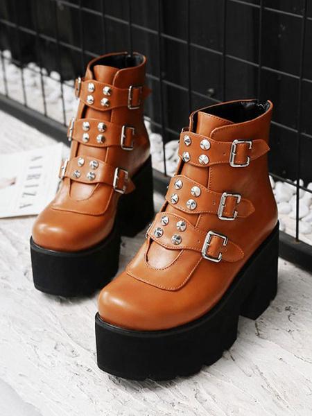 Milanoo Gothic Lolita Boots Rivet Buckle PU Leather Lolita Footwear