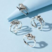 4pcs Knot & Heart Ring