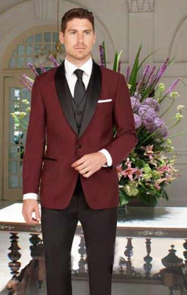 Men's Slim Fit Burgundy 1 Button Shawl Lapel Vest Tuxedo Black Pant