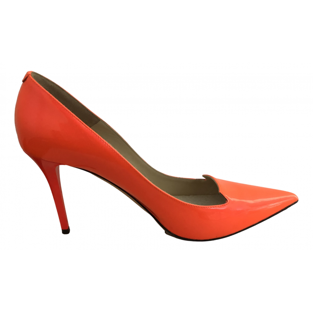 Jimmy Choo \N Orange Patent leather Heels for Women 37.5 EU