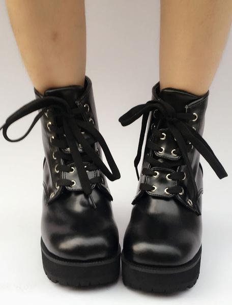 Milanoo Black Lolita Boots Platform Chunky Heel Round Toe Lace Up Lolita Short Boots