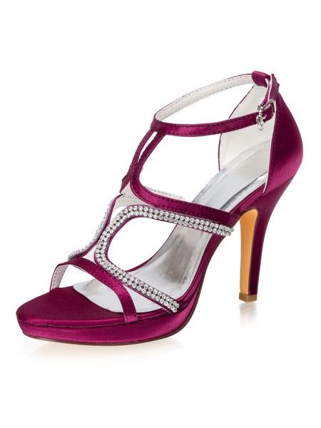 Milanoo Zapatos de noche Sandalias Saten Zapatos de fiesta para mujer con diamantes de imitacion