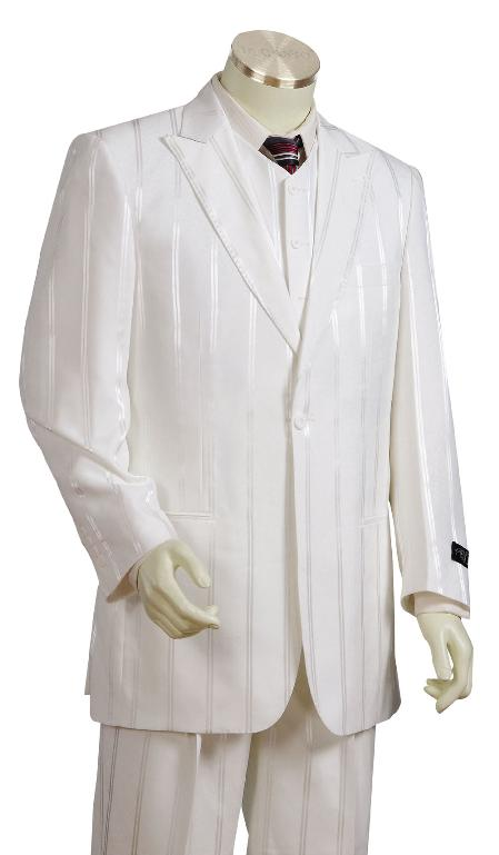 3 Piece Ivory Ton on Ton Shadow Stripe Zoot Suit Mens